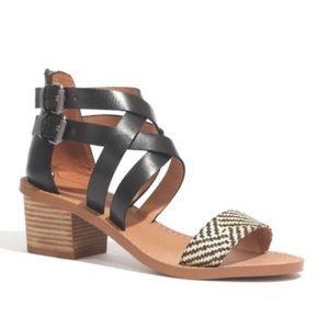 Madewell The Lora Sandal Black Straps Size 7